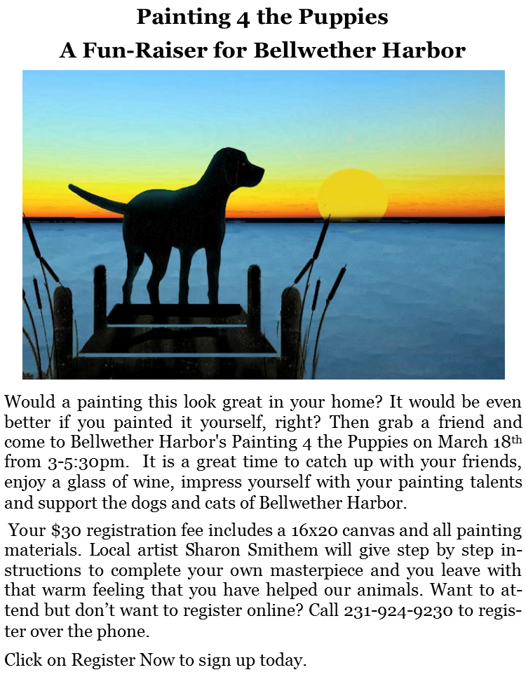 Painting 4 the Puppies- A Fun-Raiser @ Bellwether Harbor | Fremont | Michigan | United States