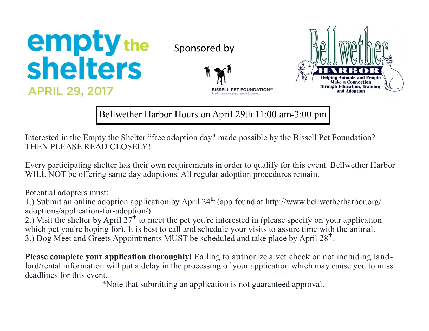 Empty the Shelters, April 29, 2017 @ Bellwether Harbor | Wheat Ridge | Colorado | United States